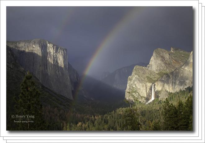 Rainbow and Waterfalls, Yosemite National Park, California