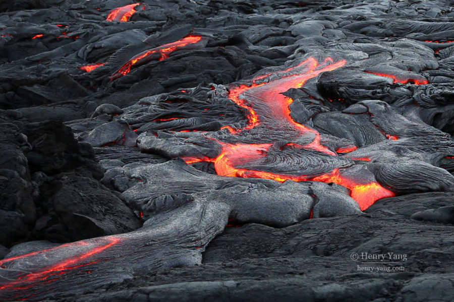 Surface Lava near Ocean, Hawai'i Volcanoes National Park, Big Island, Hawaii, 8/2016